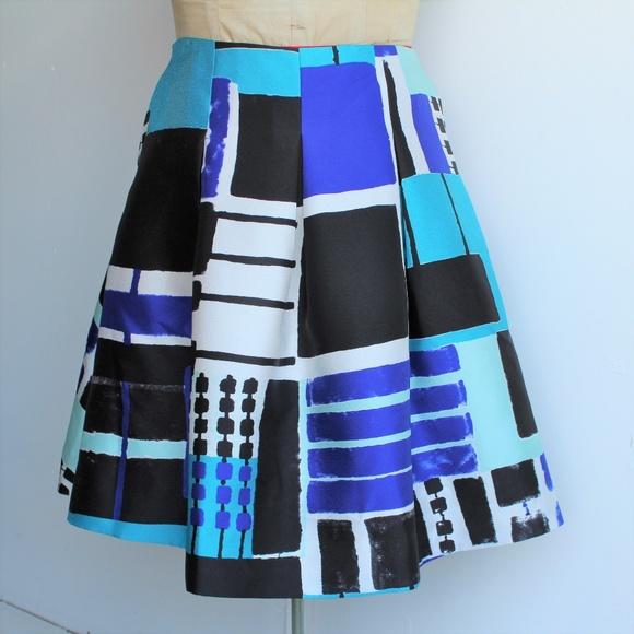 14ad432a98 Lane Bryant Skirts   Blue Geometric Box Pleat Skirt   Poshmark